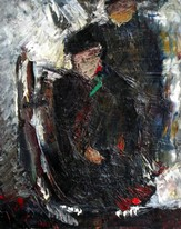 Lia Aminov abstract composition with two figures oil painting.JPG