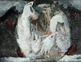 Lia Aminov abstract with wolfs oil painting.JPG