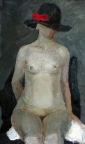 Lia Aminov female nude with black hat oil painting.JPG