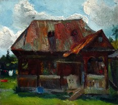 Lia Aminov oil painting, old house, Maramures.JPG