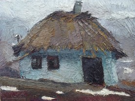 Lia Aminov old house in Nikolaivka oil painting 2006.jpg