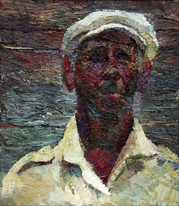 Lia Aminov old man with white hat oil painting.JPG