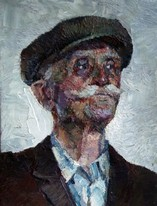 Lia Aminov portrait of an old man with hat oil painting.JPG