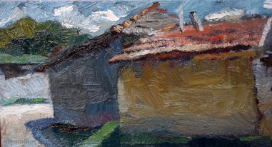 Lia Aminov two old houses in Butuceni oil painting.jpg