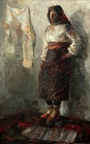 Lia Aminov women in national costume oil painting 2004.jpg