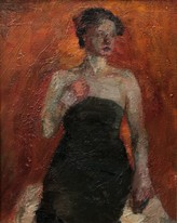 Lia Aminov women with black  dress oil painting 2003.jpg